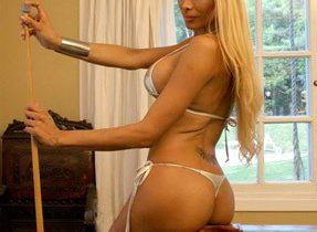 Slim Blonde On The Pool Table