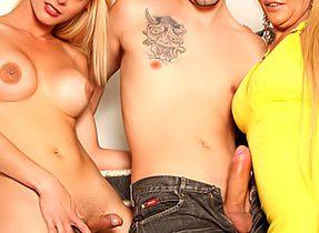 Slutty Man With Two Horny Tgirls