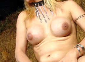 Busty Blonde Shemale Plays With Herself