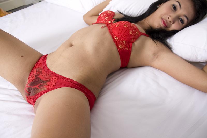 Fresh Amatuer Asian Shemale Strokes Her Hard Spunk Stick
