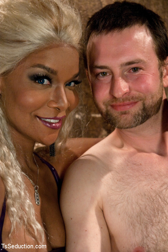 Ebony Transexual Mistress Soleli Has Some BDSM Fun With Her White Slave