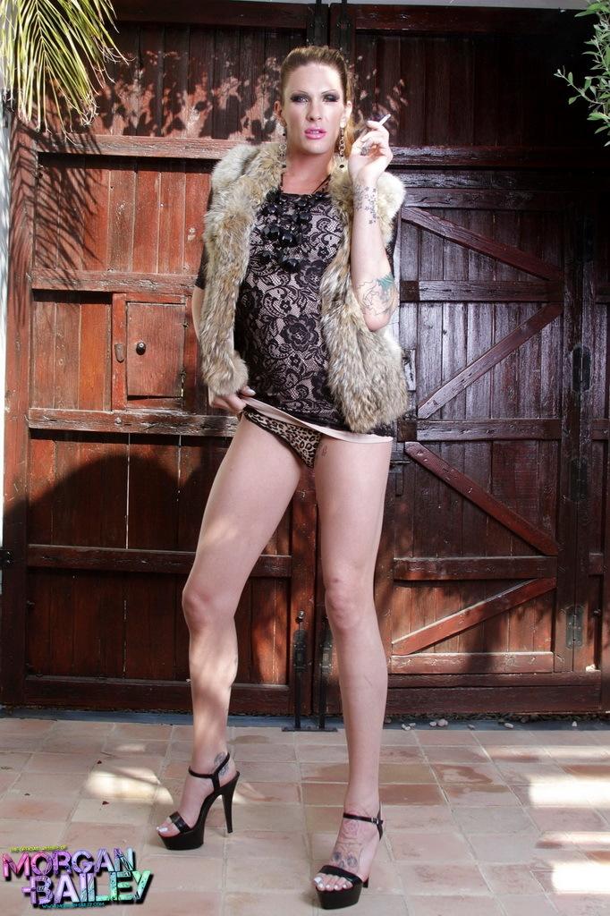 Unbelievable Ladyboy Morgan Stripping Outdoors