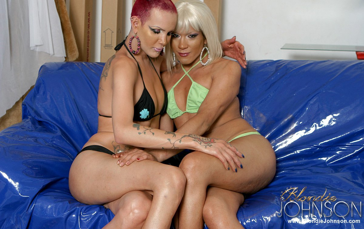 TS Blondie Johnson In Oral Sex Action With Another Transexual