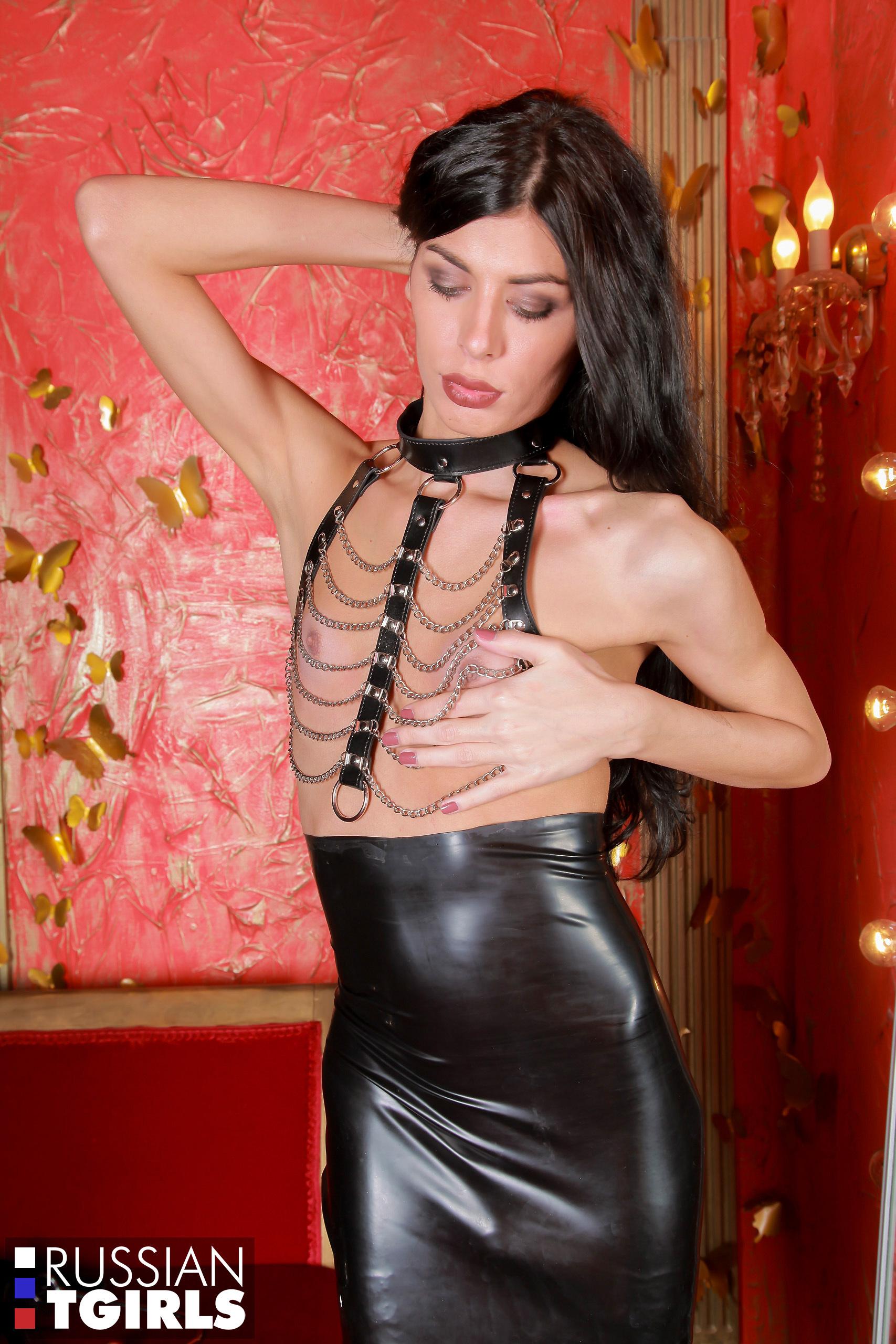 Ekaterina Alaska Yummy Domino TGirl In Black Leather
